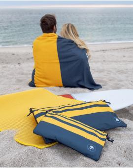 Sac à linge - Raihau - Navy à bandes jaunes - 40x25 cm