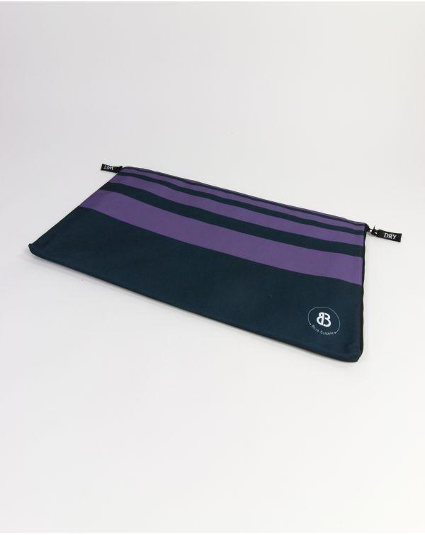 Sac à linge - Raihau - Navy à bandes violettes - 60x35 cm