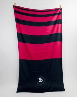 Drap de plage - Anuanua - Navy à bandes roses - 180x100 cm